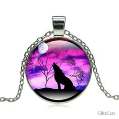 Wolf Moon Glass Pendant Necklace