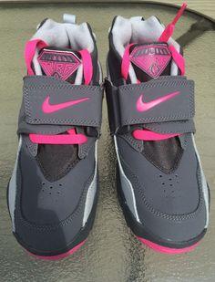 huge selection of 07d07 3bf56 NEW Nike AIR DIAMOND TURF GS SZ 2Y GRAY PINK Training Turf Shoe Sneaker  Raiders