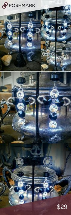 "Artisan 80's Rocker Biker Bling Cross Earrings Artisan 80's Rocker Biker Bling Crystal & Black Jet Large Cross Earrings All hand Jeweled & Forged Silver Gorgeous Dangle is 4"" Collectable Artisan Vintage Jewelry Jewelry Earrings"