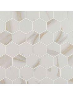 "Calacatta 2"" Hexagon White Matte Porcelain Mosaic Tile"