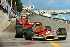 Jochen Rindt-leading the pack Lotus49-Monaco either 69 or 70-Posthumous World Champion in 70