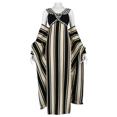 Galanos Black And White Stripe Gown And Shawl | See more vintage Evening Dresses and Gowns at https://www.1stdibs.com/fashion/clothing/evening-dresses in 1stdibs