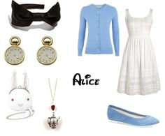 Alice and wonderland look a like outfit Disney Character Outfits, Disney Characters Costumes, Disney Themed Outfits, Disney Bound Outfits, Fictional Characters, Alice In Wonderland Outfit, Alice In Wonderland Characters, Disney Inspired Makeup, Disney Inspired Fashion
