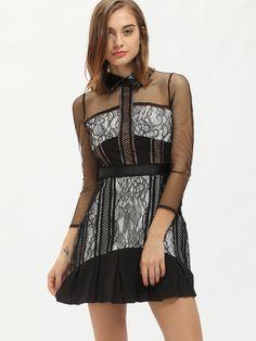 Self portrait phantom lace bandeau dress with frill