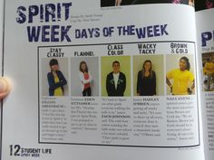 This could really work with our modular layout this year. Maybe the yearbook staff could also host a spirit week competition/vote for best costume per day.more homecoming Yearbook Mods, Yearbook Staff, Yearbook Pages, Yearbook Spreads, Yearbook Covers, Yearbook Layouts, Yearbook Design, Yearbook Theme, Yearbook Picture Ideas