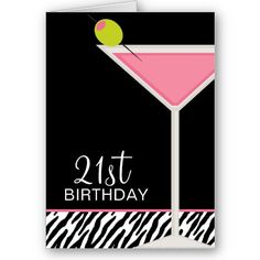Pink Martini and Zebra Pattern Greeting Cards Customizable greeting cards featuring a martini glass with an olive on a black and zebra print background. Art © JW ILLUSTRATIONS