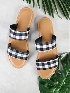 4573c7f1bae93 Online shopping for Gingham Doulbe Strap Slide Sandals BLACK from a great  selection of women s fashion clothing   more at MakeMeChic.