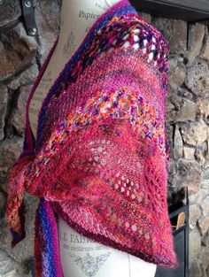 WEAR COLORS of the SKY on the Longest Day of the Year in an original hand knitted wrap of assorted silks and blended yarns in lovely color