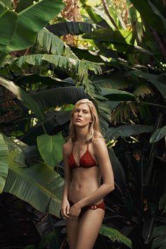 Hermès - Le Bain 2014. Chili red bikini, Chaîne d'ancre detailing. #hermes #swimwear #womenswear #fashion