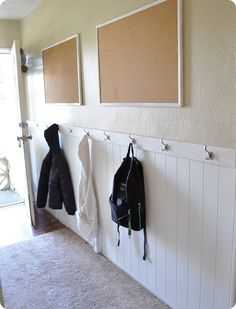Think I can talk hubby into this for the garage entryway?  Perfect for hanging coats and backpacks at the kids' level.