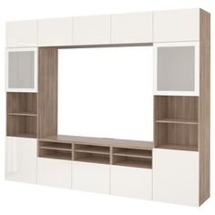 BESTÅ TV storage combination/glass doors - walnut effect light gray, Selsviken high-gloss/white frosted glass. Shop here - IKEA Media Storage, Tv Storage, Storage Spaces, Storage Systems, Tv Bank, Ikea Tv, Frame Shelf, Plastic Foil, Tv Consoles
