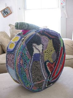 crochet-covered suitcase