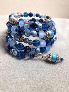 Shades of blue memory wire bracelet on Etsy, $30.00