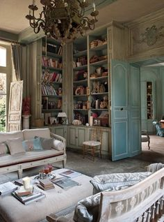 At Home in this Lived In Library...See thefrenchinspiredroom.com for More!