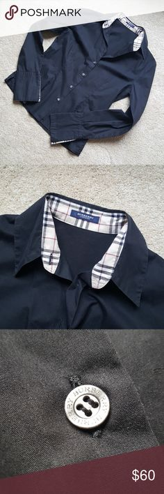 Burberry classic black fitted button down shirt Like new, used but in great condition. This was a gift and am pretty sure it is authentic, but cannot confirm it's authenticity as I myself did not make the purchase.  Size 4 US (see photo with tag for sizing chart). Please no trades. Burberry Tops Button Down Shirts