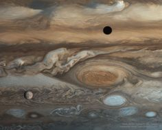 'Europa & Jupiter from Voyager'. Great Red Spot on Jupiter with Europa (lower left) and the shadow of Io (top right). Astronomy Picture of the Day 5 Sep 17 Cosmos, Great Red Spot, Jupiter Moons, Jupiter Planet, Jupiter Storm, Sailor Jupiter, Astronomy Pictures, Gas Giant, Space Images