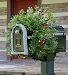 lighted holiday mailbox swag w battery operated auto timer green - Battery Pack To Plug In Christmas Lights