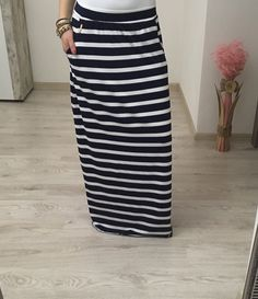 Maxi sukňa pásikavá