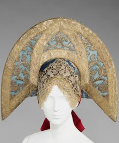 Kokoshnik, a festive headdress of married women from Vladimir and Novgorod Provinces, Russia. Early 19th century. Silk, glass, semi-precious stones, metal, cotton, mother of pearl. Object from the Metropolitan Museum of Arts. #Russian #folk #costume