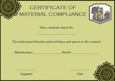16 best certificate of compliance images on pinterest material certificate of compliance template altavistaventures Gallery