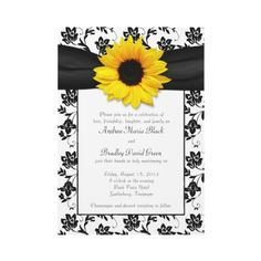Black and white Damask Sunflower Wedding invitation. You can easily personalize the text yourself.#Repin By:Pinterest++ for iPad#
