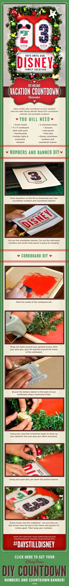 Visiting a Disney Park for Christmas? Create your DIY Vacation Countdown! Vacation Countdown, Disney Countdown, Disneyland Vacation, Walt Disney World Vacations, Disney Trips, Countdown Ideas, Christmas Countdown, Disney Diy, Disney Crafts