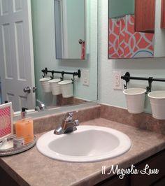 coral aqua bathroom sink with Ikea Fintorp cutlery caddy for the girlies bathroom Kids Bathroom Organization, Bathroom Storage Solutions, Bathroom Kids, Small Bathroom, Organization Ideas, Bathroom Mirrors, Aqua Bathroom Decor, Downstairs Bathroom, Bathroom Layout