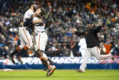 Giants celebrate winning the 2012 World Series. Can't help but SMILE when you look at this! :) Romo, Posey and Sandoval's faces...love it!
