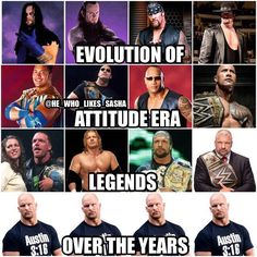 Some have changed more than others . Ever since Steve took on the stone cold gimmick he's looked exactly the same throughout the years . The man simply doesn't age. Wrestling Rules, Catch Wrestling, Austin Wwe, Wwe Quotes, Attitude Era, Kane Wwe, Wwe The Rock, Wwe Funny, Star Wars Characters Pictures