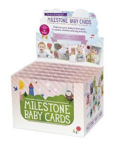 Display with six sets of MILESTONE Baby Cards. Set of 30 cards to capture your baby's first year in weeks, months and big events. www.milestonecards.com