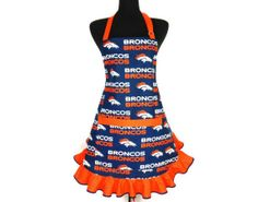 denver broncos style | Denver Broncos Apron, Retro Hostess Style with Ruffle and Pocket on ...