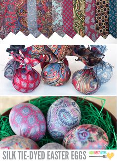 Use old silk ties to dye Easter eggs. Awesome!