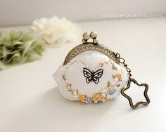 Victorian style Coin Purse, Silk ribbon embroidery, Butterfly, Frame purse, Silk Purse, Embroidered frame Purse