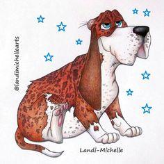 💕 Basset Hound #landimichellearts #bassethound #twinkletwinklelittlestar  #characterdesign #makeawish #art #artwork #dream #sparkle #puppylove #dogdrawing #disney #characterdesign