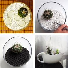 sand terrariums to keep zen at work--love! Would make cute gifts in different vessels.