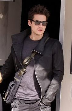 John Mayer and Rick Owens Asymmetrical Leather Jacket Photograph