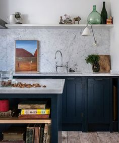 Love the color, love the marble. Fabulous Skye Gyngell kitchen by British Standard, Carrara marble countertop and back splash, Farrow & Ball Hague Blue Cabinets. Photography by Alexis Hamilton. Blue Cabinets, Kitchen Cupboards, New Kitchen, Kitchen Dining, Kitchen Decor, Minimal Kitchen, Kitchen Ideas, British Standard Kitchen, British Kitchen Design
