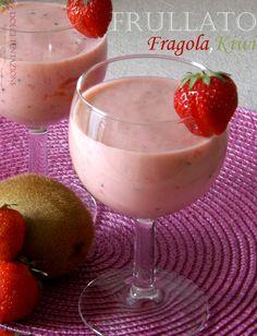 Frullato – Fragola,Kiwi , fresco, saporito e soprattutto genuino. Si prepara in un attimo e sarà la merenda ideale per i vostri bambini!  http://blog.giallozafferano.it/dolcitentazionidirdc/frullato-fragolakiwi/