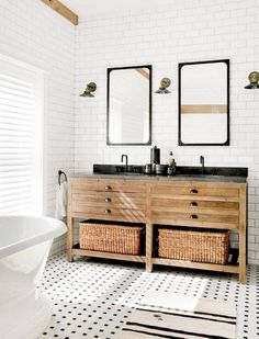 Gorgeous black and white vintage rustic bathroom bathroom renos, bathroom renovations, home remodeling, Bathroom Interior, Modern Bathroom, Small Bathroom, Bathroom Ideas, White Bathroom, Bathroom Mirrors, Bathroom Designs, Bathroom Cabinets, Neutral Bathroom