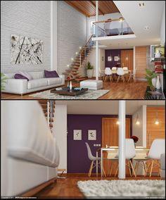 , Simple Mezanine Loft Living Room