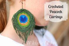 Crocheted Peacock Feather Earrings