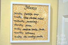 Great dry-erase menu board.  I'm thinking of making one for notes in the office as well!