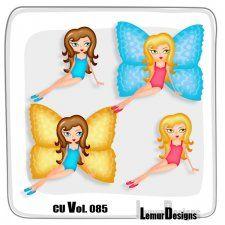 CU Vol. 085 Butterfly Girls by Lemur Designs #CUdigitals cudigitals.comcu commercialdigitalscrapscrapbookgraphics