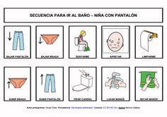 MATERIALES - Secuencias para ir al baño: niña con pantalón. Conjunto de seis secuencias para trabajar o anticipar las distintas rutinas para ir al baño.  http://arasaac.org/materiales.php?id_material=778
