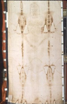 Frontal image of the Shroud of Turin in natural light.