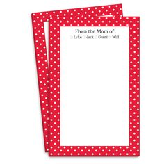 Personalized Red Polka Dot Border Mommy Notepads