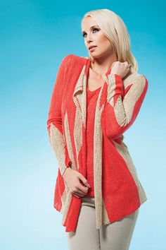 This modern twin set will get you noticed! Spring 2014, Spring Summer, Knitwear, Coral, Style Clothes, Sweaters, Twin, Beautiful, Collection