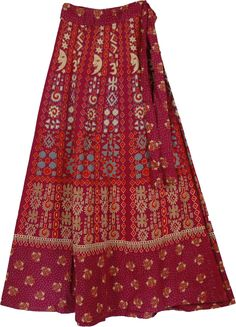 Maroon Wrap Long Indian Style Skirt