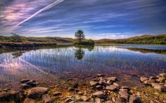 Small Scottish Loch in Western Ross on a beautiful summers day.