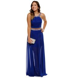 Bree- Royal Prom Dress at WindsorStore- Two piece dresses are a big trend for prom in 2015. This dress is a rich blue and has nice flow to it.